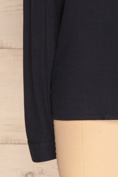 Kovin Navy Long Sleeve Blouse | La petite garçonne bottom close-up