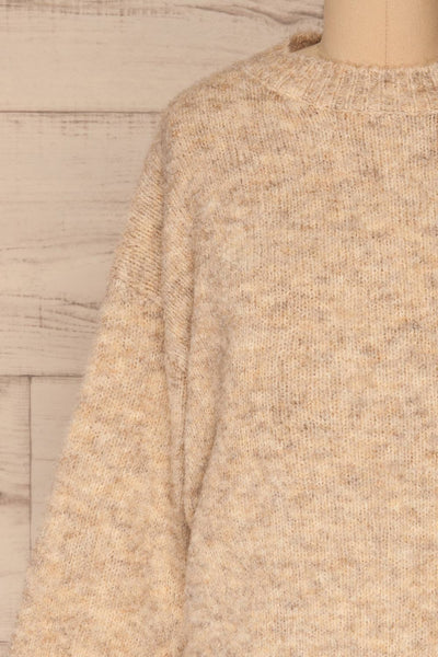 Kozle Beige Fuzzy Knitted Sweater | La petite garçonne front close-up