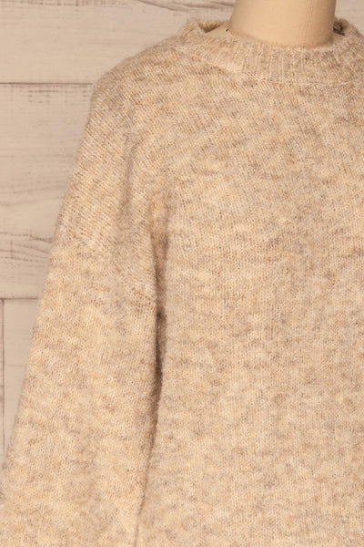 Kozle Beige Fuzzy Knitted Sweater | La petite garçonne  side close-up