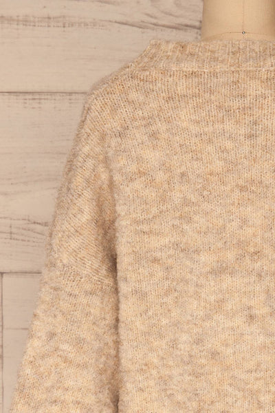 Kozle Beige Fuzzy Knitted Sweater | La petite garçonne back close-up