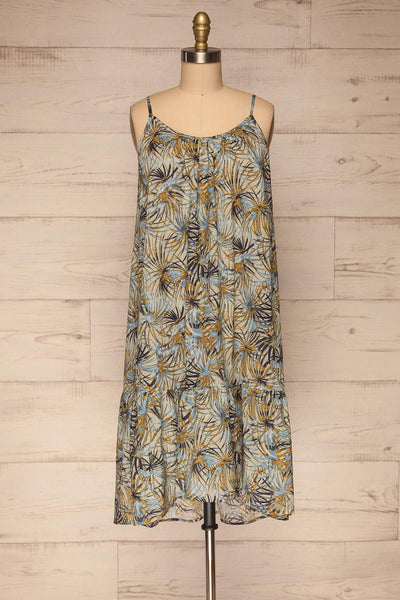 Kozuchow Sage Green Patterned Summer Dress front view | Boutique 1861