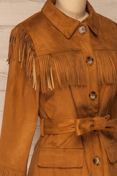 Kragero Belted Fringe Jacket | La petite garçonne side close-up