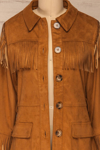Kragero Belted Fringe Jacket | La petite garçonne front close-up open