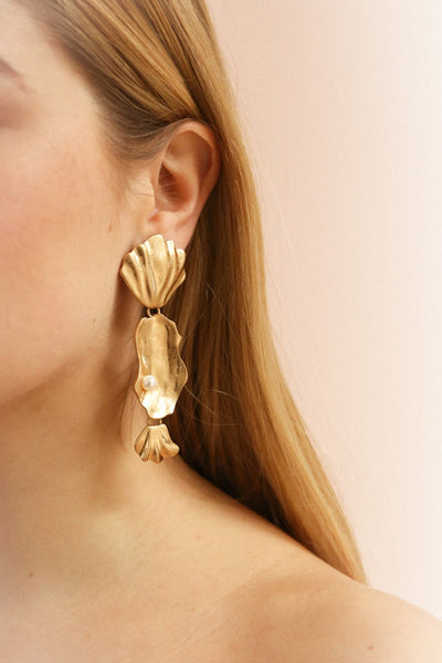 Krakow Gold Shell & Pearl Pendant Earrings | La Petite Garçonne on model left ear
