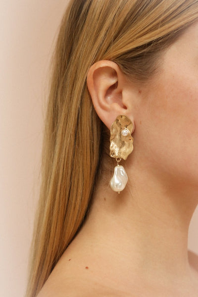 Krakow Gold Shell & Pearl Pendant Earrings | La Petite Garçonne on model right ear