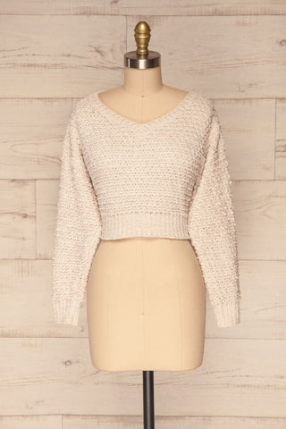 Krinidhes Ivory Chenille Cropped Sweater | La Petite Garçonne front view