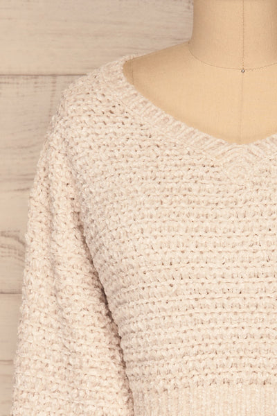 Krinidhes Ivory Chenille Cropped Sweater | La Petite Garçonne front close-up