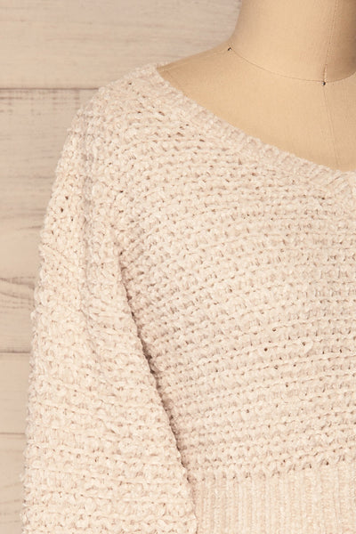 Krinidhes Ivory Chenille Cropped Sweater | La Petite Garçonne side close-up