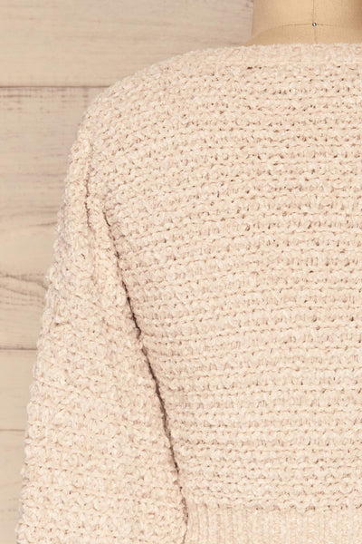 Krinidhes Ivory Chenille Cropped Sweater | La Petite Garçonne back close-up