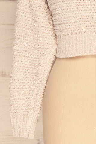 Krinidhes Ivory Chenille Cropped Sweater | La Petite Garçonne bottom close-up