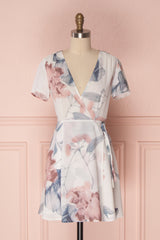 Kristine White Floral Short Wrap Dress | Boutique 1861