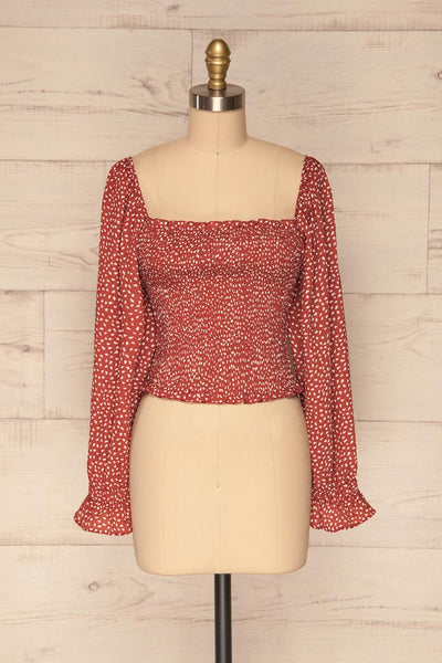 Krobia Rust Red Ruched Crop Top with Puff Sleeves | La Petite Garçonne front view