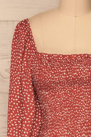 Krobia Rust Red Ruched Crop Top with Puff Sleeves | La Petite Garçonne front close-up