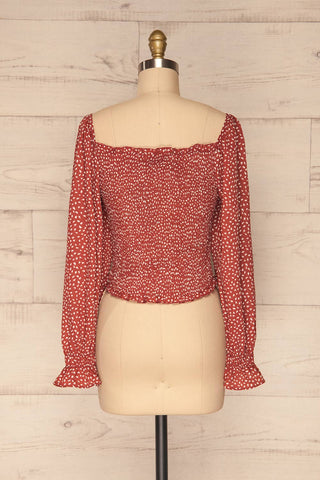 Krobia Rust Red Ruched Crop Top with Puff Sleeves | La Petite Garçonne back view