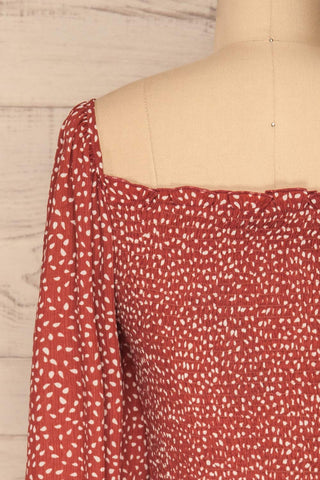 Krobia Rust Red Ruched Crop Top with Puff Sleeves | La Petite Garçonne back close-up