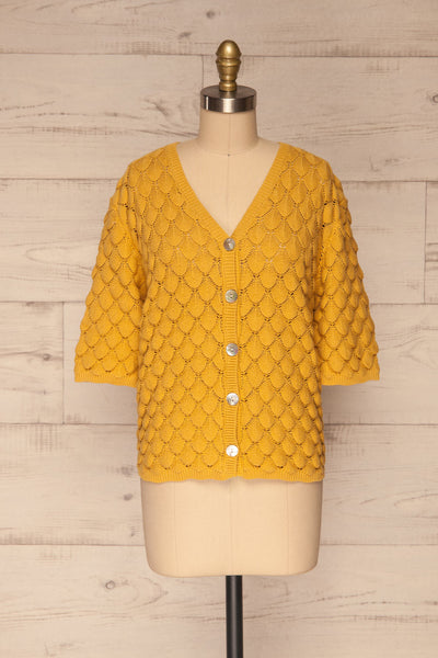 Krynica Sun Yellow V-Neck Knit Top | La petite garçonne front view