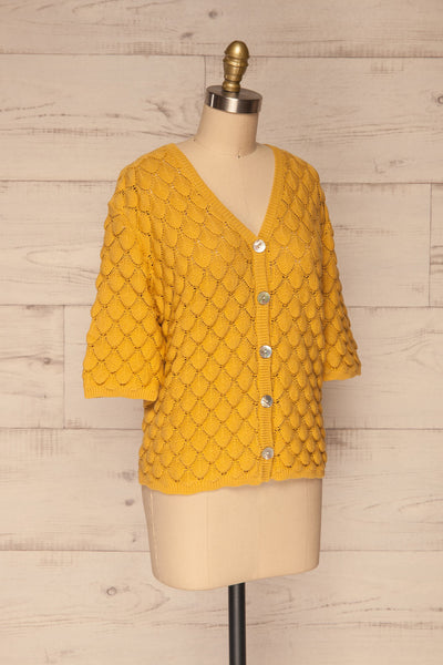 Krynica Sun Yellow V-Neck Knit Top | La petite garçonne side view
