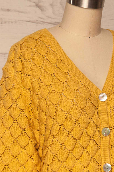Krynica Sun Yellow V-Neck Knit Top | La petite garçonne side close up