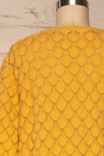 Krynica Sun Yellow V-Neck Knit Top | La petite garçonne back close up
