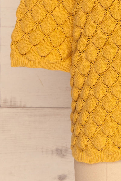 Krynica Sun Yellow V-Neck Knit Top | La petite garçonne sleeve