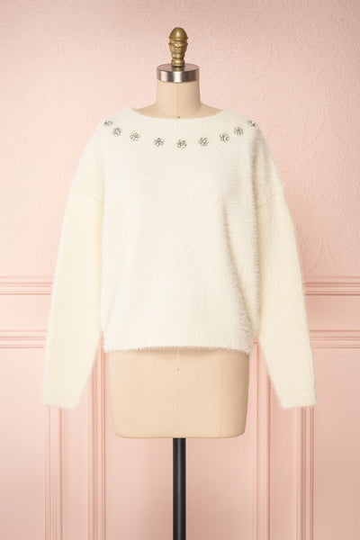 Krystiyan White Fluffy Knit Sweater with Crystals | Boutique 1861 front view
