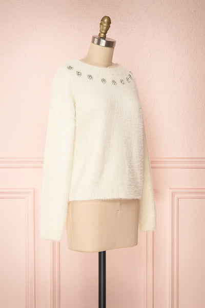 Krystiyan White Fluffy Knit Sweater with Crystals | Boutique 1861 side view