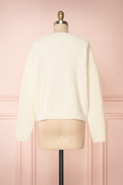 Krystiyan White Fluffy Knit Sweater with Crystals | Boutique 1861 back view
