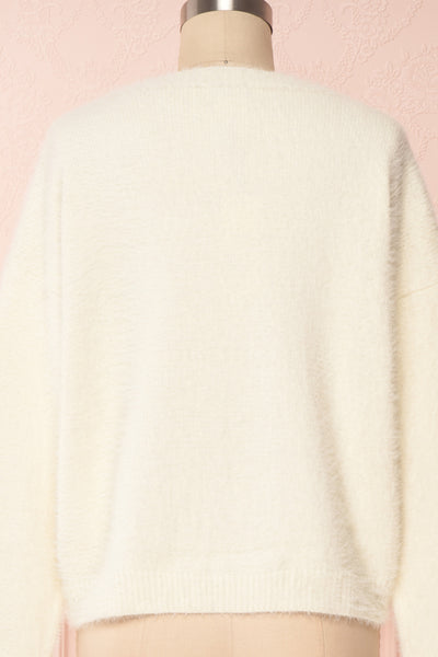 Krystiyan White Fluffy Knit Sweater with Crystals | Boutique 1861 back close-up