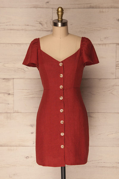 Ktea Clay Red Button-Up Fitted Summer Dress | La Petite Garçonne
