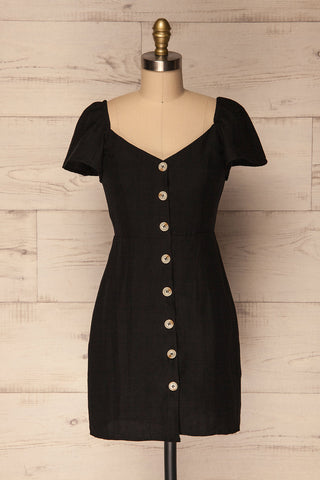 Ktea Coal Black Button-Up Fitted Summer Dress | La Petite Garçonne