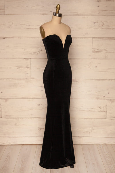 Kubra Black Velvet Maxi Dress | Robe | La Petite Garçonne side view