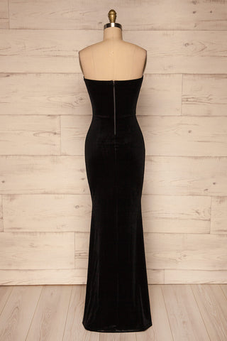 Kubra Black Velvet Maxi Dress | Robe | La Petite Garçonne back view