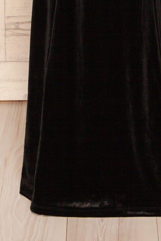 Kubra Black Velvet Maxi Dress | Robe | La Petite Garçonne bottom close-up