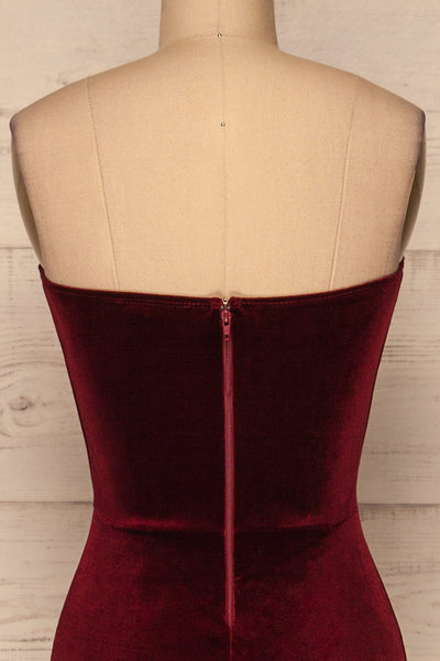 Kubra Burgundy Velvet Maxi Dress | Robe | La Petite Garçonne back close-up