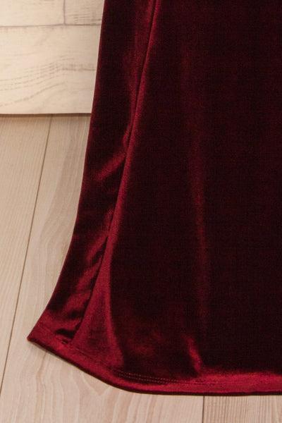 Kubra Burgundy Velvet Maxi Dress | Robe | La Petite Garçonne bottom close-up