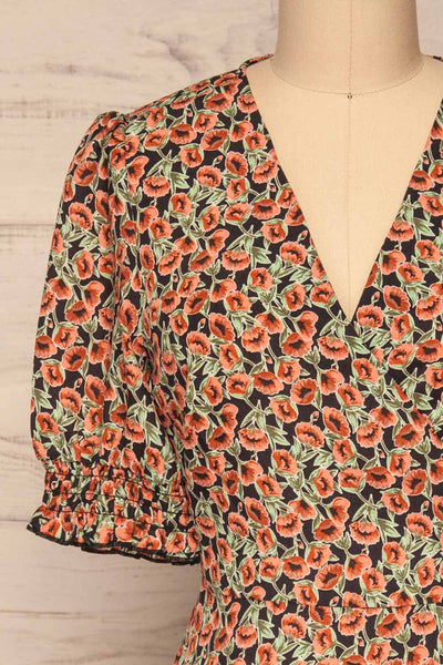 Kujawski Orange & Green Floral Midi Wrap Dress | La Petite Garçonne