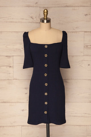 Kunovec Navy Blue Ribbed Flare Dress w Buttons | La Petite Garçonne