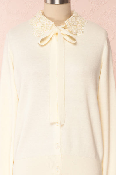 Kuzma Cream Knit Button-Up Cardigan with Lace | Boutique 1861 front close-up