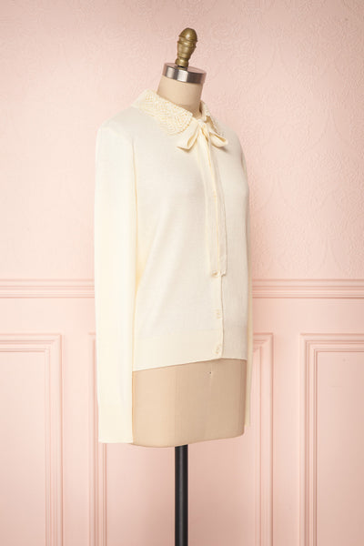 Kuzma Cream Knit Button-Up Cardigan with Lace | Boutique 1861 side view
