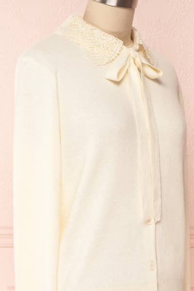 Kuzma Cream Knit Button-Up Cardigan with Lace | Boutique 1861 side close-up