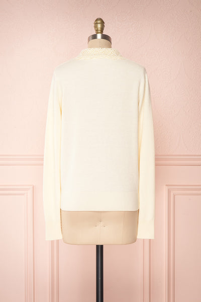 Kuzma Cream Knit Button-Up Cardigan with Lace | Boutique 1861 back view