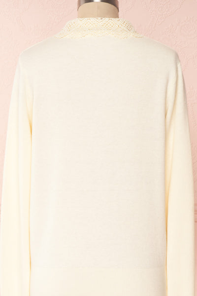Kuzma Cream Knit Button-Up Cardigan with Lace | Boutique 1861 back close-up