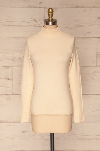 Kuznia Cream Long Sleeve Mock Neck Top | La petite garçonne front view