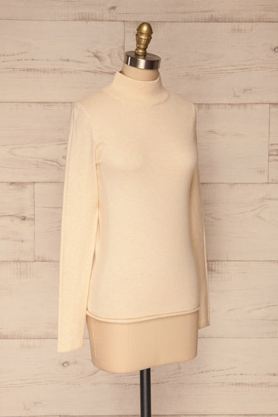 Kuznia Cream Long Sleeve Mock Neck Top | La petite garçonne side view