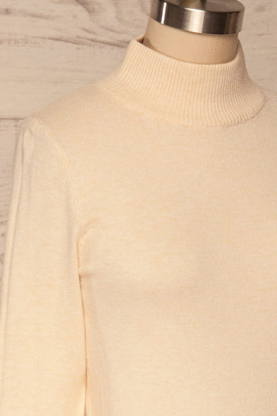 Kuznia Cream Long Sleeve Mock Neck Top | La petite garçonne side close up