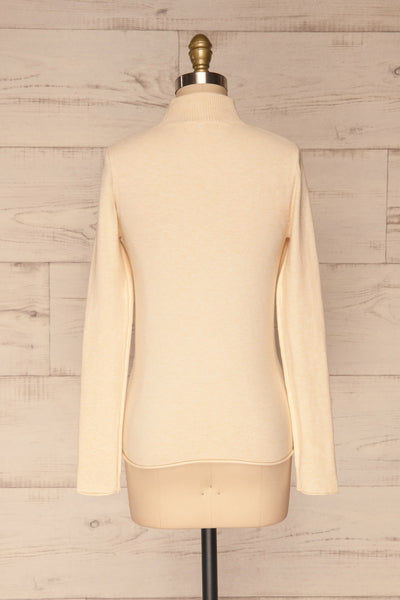 Kuznia Cream Long Sleeve Mock Neck Top | La petite garçonne back view