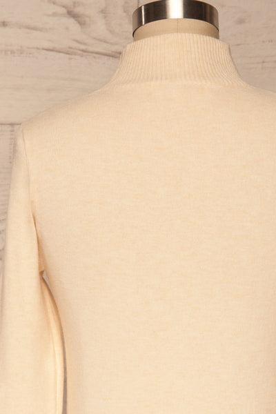 Kuznia Cream Long Sleeve Mock Neck Top | La petite garçonne back close up