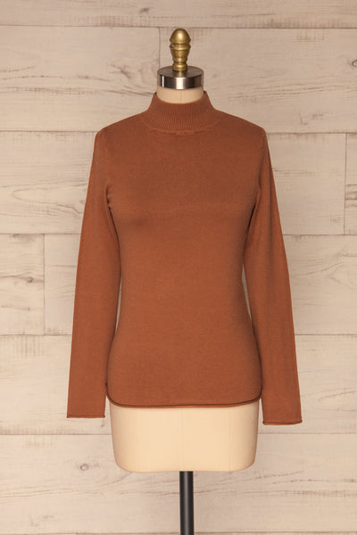 Kuznia Rust Long Sleeve Mock Neck Top | La petite garçonne front view