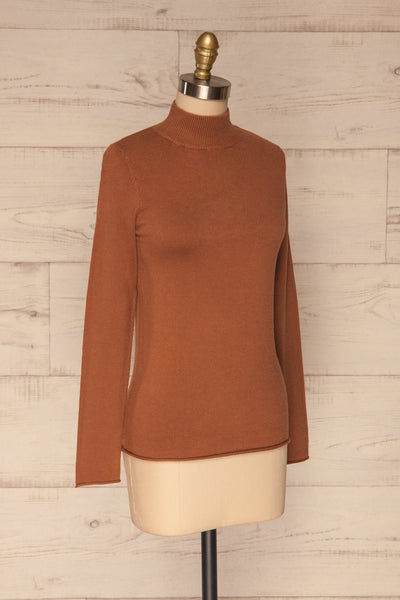 Kuznia Rust Long Sleeve Mock Neck Top | La petite garçonne side view