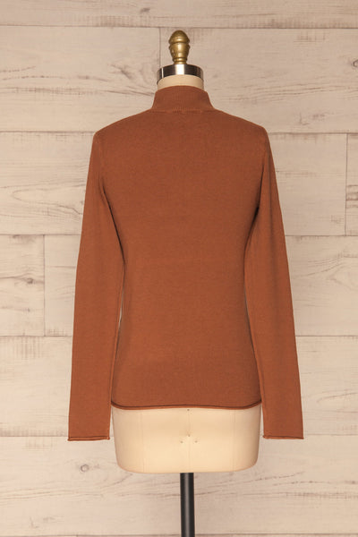 Kuznia Rust Long Sleeve Mock Neck Top | La petite garçonne back view
